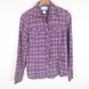 Columbia Womens Purple Plaid Button Down Shirt